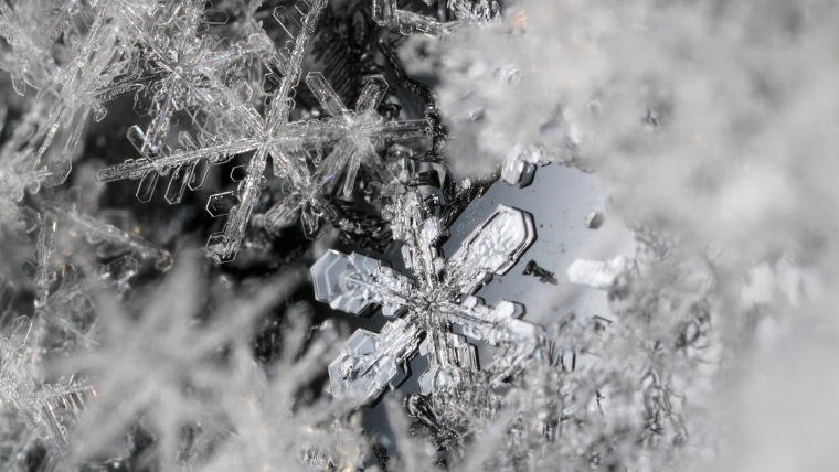 Snow flakes, extreme close-up